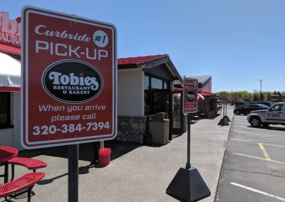 Tobies curbside pickup signs