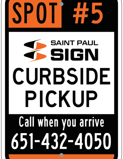CURBSIDE PICKUP ORANGE AND BLACK SIGN
