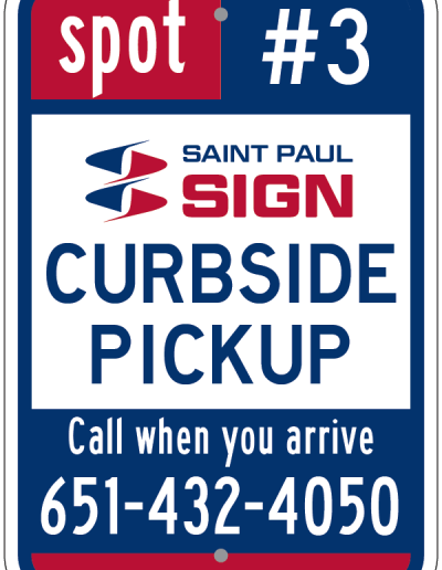 CURBSIDE PICKUP SIGN RED WHITE AND BLUE SIGN