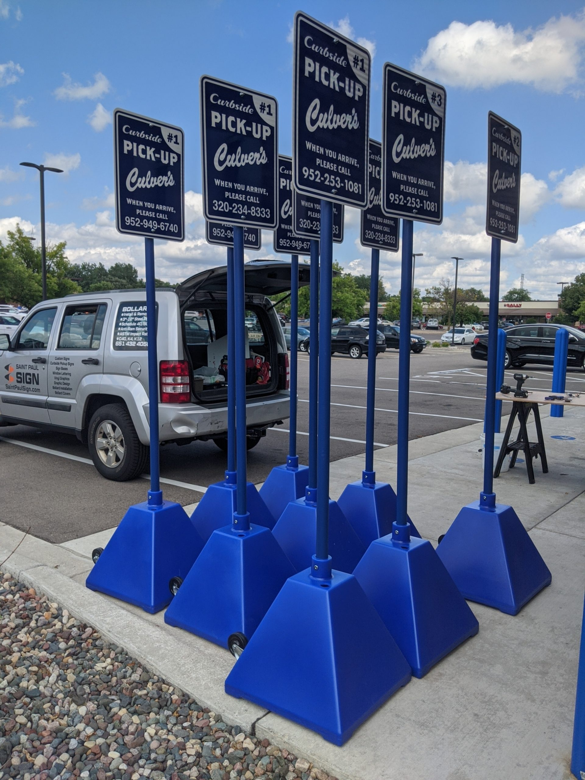 Culver's Curbside Pick Up Signs on Pyramid Bases