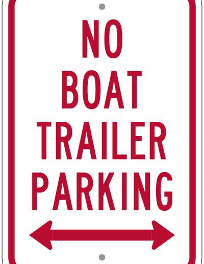 NO BOAT TRAILER PARKING SIGN