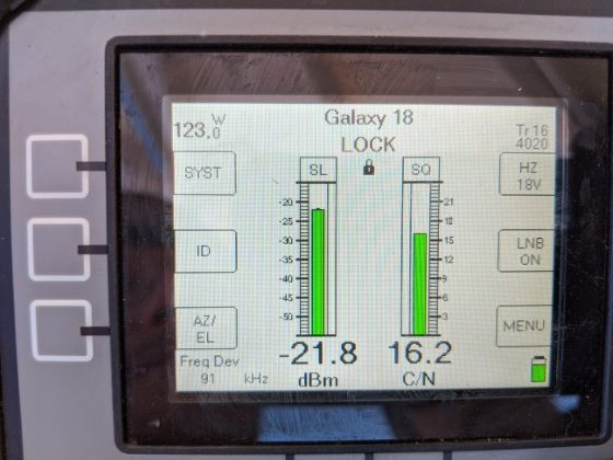 Galaxy 18 Carrier over Noise and Signal Strength